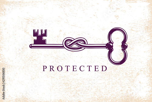 Pinturas sobre lienzo  Knotted key allegorical symbol of keep secret, vintage antique turnkey in a knot, defense and security concept, password personal data protection, vector logo