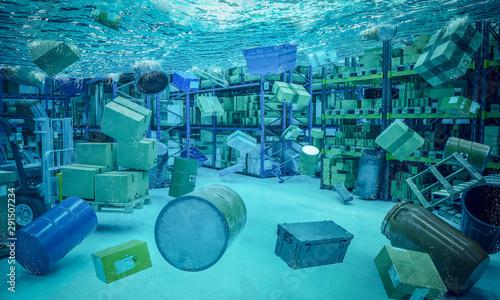 Fototapeta  3d flooded warehouse interior background