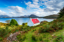A Picturesque Cottage On The Shores Of Loch Shieldaig On The Applecross Peninsula In The Far North West Of Scotland