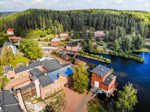 Kouvola, Finland - 2 September 2019: Aerial photo of Verla Mill museum Groundwood and Board Mill at Jaala, is a well preserved 19th century mill village and a UNESCO World Heritage site. © elenanoeva