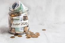 Budget 2020. Glass Jar With Mo...