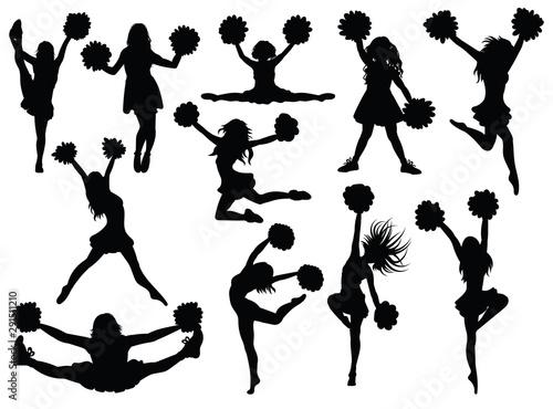 Fotomural Set of silhouette cheerleaders