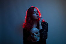 Gothic Girl With A Skull