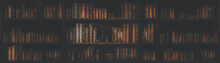 Panorama Blurred Bookshelf Many Old Books In A Book Shop Or Library