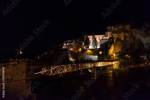 """""""Casas Colgadas"""" of Cuenca at night, Spain. Historical buildings of Castilla La-Mancha"""