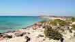 Aerial pedestal shot of a majestic coast of Elafonisi island