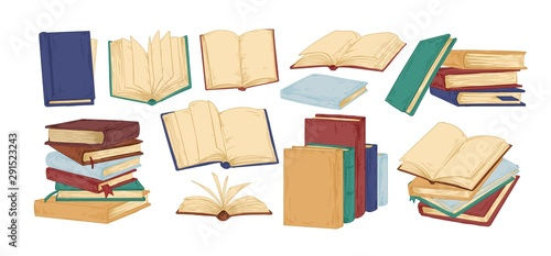Vászonkép Books hand drawn vector illustrations set