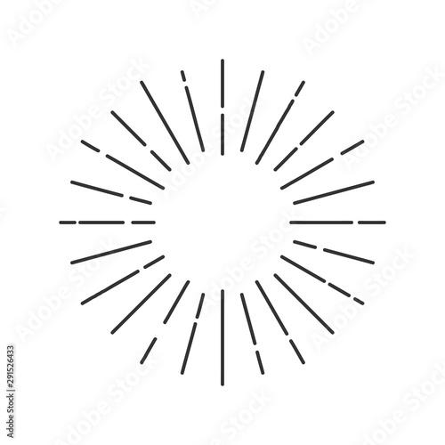Fototapeta Sun rays hand drawn, linear drawing obraz na płótnie