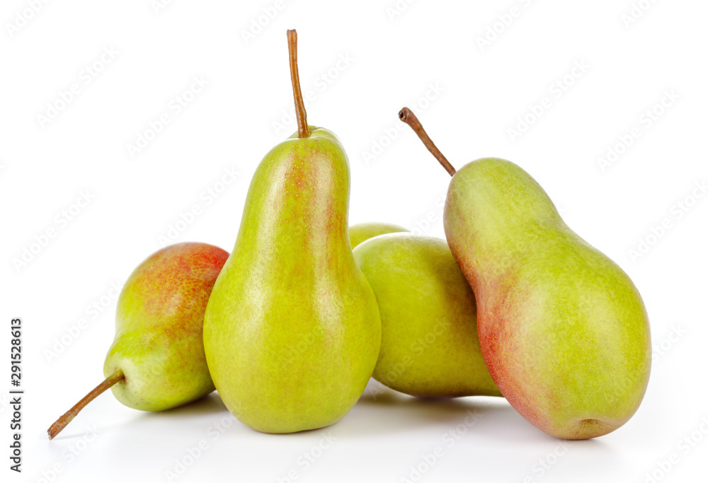 Fototapety, obrazy: fresh green pears isolated on white background