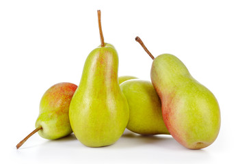 fresh green pears isolated on white background