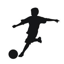 Kid Playing Football Silhouette