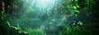 Leinwanddruck Bild - Beautiful green forest panorama background