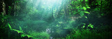 Fototapeta  - Beautiful green forest panorama background