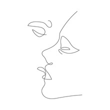 Kiss Continuous One Line Drawi...
