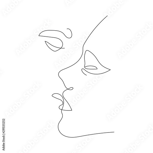 Kiss Continuous One Line Drawing Canvas Print