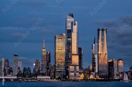 Door stickers New York Sunset at Hudson Yards skyline of midtown Manhattan view from Hudson River