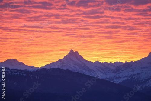 Foto auf AluDibond Koralle Alpine Sunset