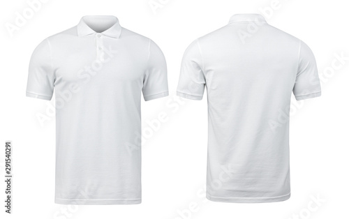 White polo shirts mockup front and back used as design template, isolated on white background with clipping path Fototapeta