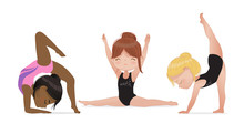 Gymnastics For Kids. Cute Multicultural Girls Do Gymnast And Stretching Exercises. Stretching And Yoga Pose. Flexible Gymnastics Girls Vector Illustration Isolated On White Background. Beautiful