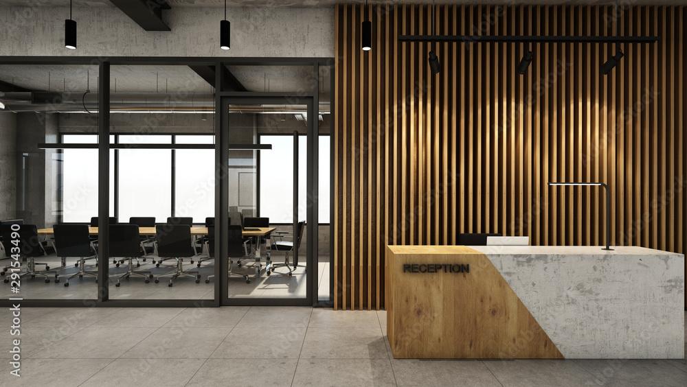Fototapeta Office  reception design Modern & Loft,Concrete wood half counter in front of the wood slat,Concrete floor - 3D render
