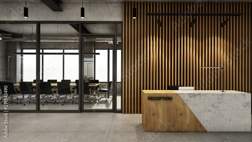 Obraz na płótnie Office  reception design Modern & Loft,Concrete wood half counter in front of th