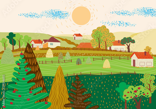 Cartoon flat village with colorful scenery. Autumn season fields and houses. Haystacks. Vector