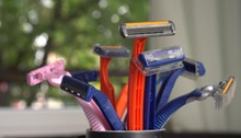 Bunch Of Old Disposable Razors. The Problem Of Plastic Pollution Of The Earthn