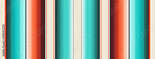 Foto auf Leinwand Boho-Stil Turquoise, Orange & Navajo White Mexican Blanket Serape Stripes Seamless Vector Pattern. Rug Texture with Threads. Native American Textile. Ethnic Boho Background. Pattern Tile Swatch Included