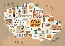 Czech Republic Cultural Map Hand Drawn Illustration. European Country Traditional Symbols. People In Authentic Clothing, National Dishes And Sightseeing Spots. Famous Landmarks And Food Drawing.