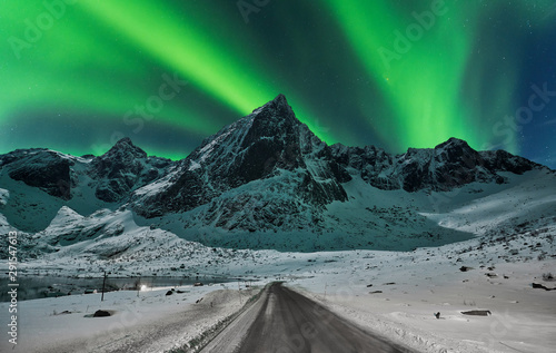 Foto auf Gartenposter Nordlicht Northern lights over winter landscape