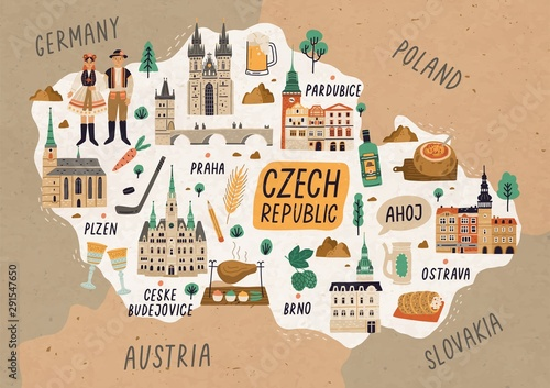 Fotografie, Tablou  Czech Republic cultural map hand drawn illustration