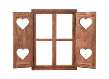Wood Window With Shutters With Hearts