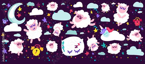 Fotografía  Sleeping sheep vector illustrations set