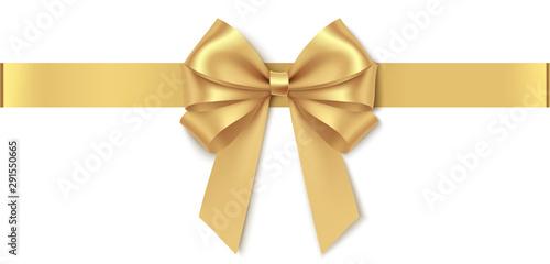 Fényképezés  Decorative golden bow with horizontal ribbon isolated on white background