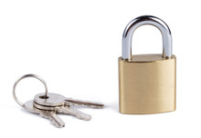 Padlock With Keys Isolated On White Background