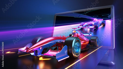 Poster F1 Racing car flying out of laptop screen