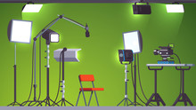 Green Screen Television Studio And Stage Equipment