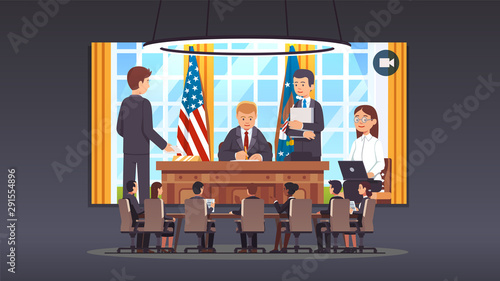 Fotografía Government officials talking to president at desk