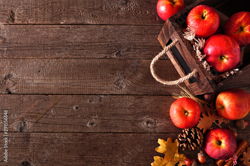 Autumn side border of apples and fall ingredients with crate on a rustic wood background Canvas-taulu