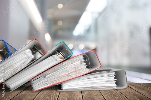 Photo sur Toile Amsterdam File folders with documents on background