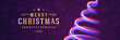 Christmas banner horizontal design template with xmas tree from glowing lights and typographic wish vector illustration