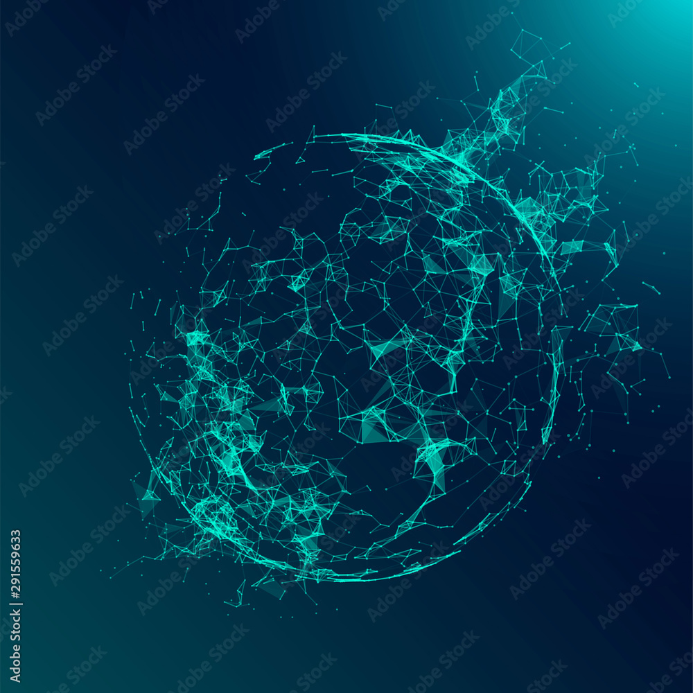 Fototapeta Abstract geometric 3d sphere made of points and lines. Futuristic technology style.