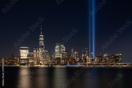 Jersey City, NJ - USA - Aug 30 2019: The 9/11 Tribute in Lights temporary monume Wallpaper Mural