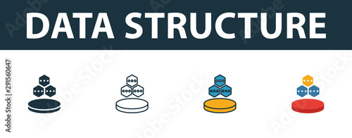 data structure icon set four simple symbols in diferent styles from web hosting icons collection creative data structure icons filled outline colored and flat symbols buy this stock vector and explore web hosting icons collection creative