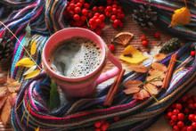 Mug Of Hot Coffee On A Backgro...