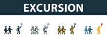 Excursion Icon Set. Four Simple Symbols In Diferent Styles From Tourism Icons Collection. Creative Excursion Icons Filled, Outline, Colored And Flat Symbols