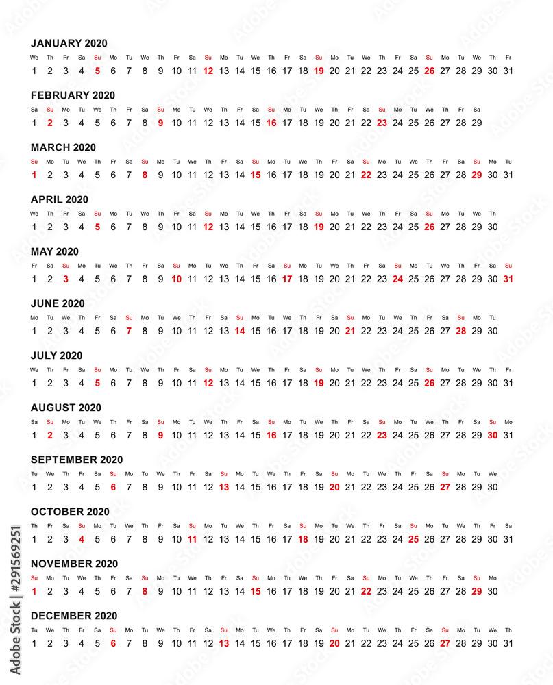 Fototapeta Simple horizontal calendar template year 2020