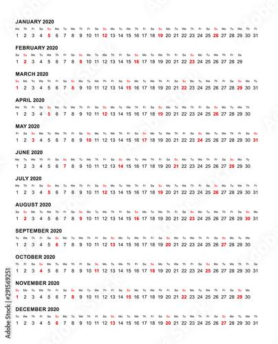 Fototapeta Simple horizontal calendar template year 2020 obraz na płótnie
