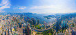 canvas print picture - Aerial top view of Hong Kong Downtown, republic of china. Financial district and business centers in smart urban city in Asia. Skyscrapers and high-rise modern buildings at noon.