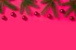 Leinwanddruck Bild - Christmas fir branches and red balls